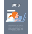 Business start up banner with businesspeople vector image vector image
