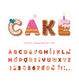 cake cartoon font cute sweet letters and numbers vector image