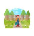 cheerful young gardener vector image