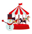 christmas snowman character with carousel vector image vector image