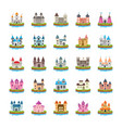 fort flat icons vector image