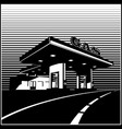 gas station on the road retro style vector image vector image