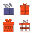 gift box icon set color outline style vector image vector image