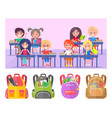 girl and boy studying backpack sticker vector image vector image