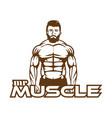 gym sport bodybuilding logo or label strong man vector image