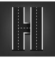 H letter Road font vector image