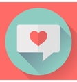 Heart in speech bubble icon Flat vector image