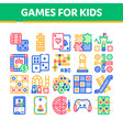interactive kids games thin line icons set vector image