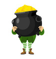 leprechaun holding pot of gold dwarf with red vector image