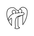 love heart commitment teamwork together outline vector image vector image