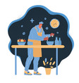 man cooking suppter at home vector image vector image