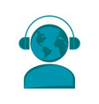 man silhouette with earth and headphones vector image vector image