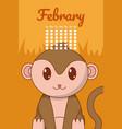 monkey cute calendar cartoon vector image