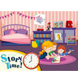 monther and children in bedroom vector image