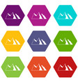 mountains icon set color hexahedron vector image vector image