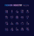 neon linear icons fashion industry vector image