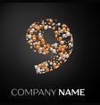 number nine logo gold-silver dots vector image
