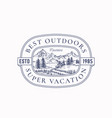 outdoor vacation frame badge or logo template vector image vector image