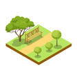 park alley with wooden bench isometric 3d icon vector image