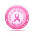 pink ribbon glossy icon vector image vector image