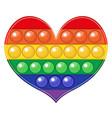 popit heart shaped colorful rainbow fidget sensory vector image vector image