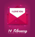 poster valentines day flat pink envelope on pink vector image vector image