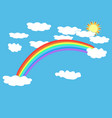 rainbow cloud and sun on sky sign vector image vector image