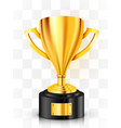 realistic golden trophy on transparent background vector image vector image