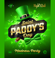 saint paddys day party poster design 17 march vector image vector image