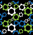 seamless pattern - blue green white cogwheels vector image