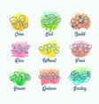 set cereal types isolated icons corn oat and vector image