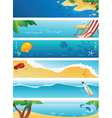 Set of 6 summer beach banners vector image vector image
