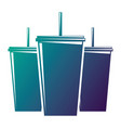 set of plastic soda cup with straw fresh drink vector image vector image
