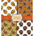 set of seamless Thanksgiving patterns vector image