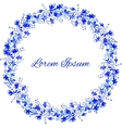 Watercolor blue floral frame vector image