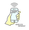 wireless payment icon - smartphone in hand nfc vector image vector image