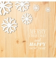 Wood board with white snow and stars vector image vector image
