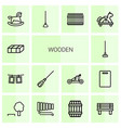 14 wooden icons vector image vector image