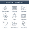 9 day icons vector image vector image
