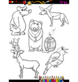 animals set cartoon coloring page vector image