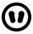baby footprint in footwear black icon in circle vector image vector image