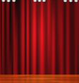 Beautiful red curtain with wooden floor vector image vector image