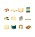 books flat library symbols learning studying vector image