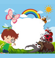 border template with boy and many insects vector image vector image
