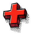 cartoon image of plus icon cross symbol vector image vector image