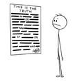 cartoon man reading censored statement the vector image