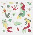 caticorns and unicorns mermaid vector image