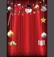 christmas decorative object hang on red curtain vector image