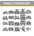 collection public transport line icons set vector image vector image