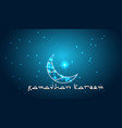 creative design crescent moon on glowing backgroun vector image